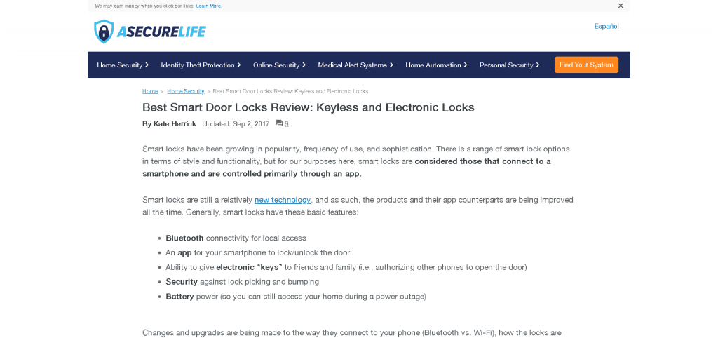 Review of Smart Locks at ASecureLife.com