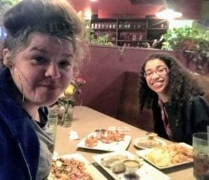 Photo: Rachel and Candace at dinner on a respite switch