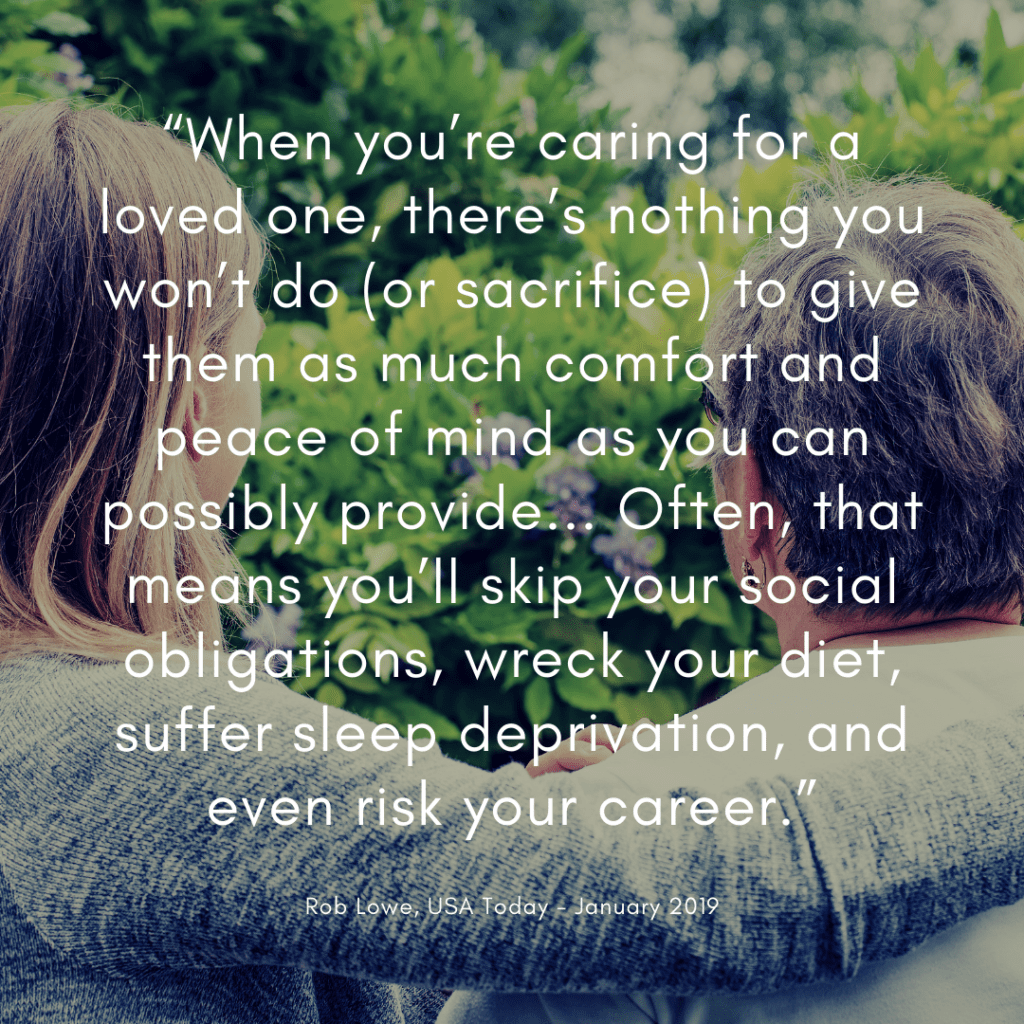 Banner: Quote from Rob Lowe on Caregiving