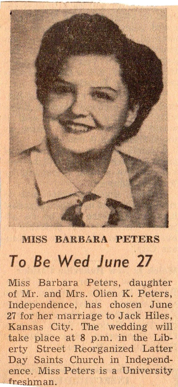 Newspaper clipping: To be Wed June 27