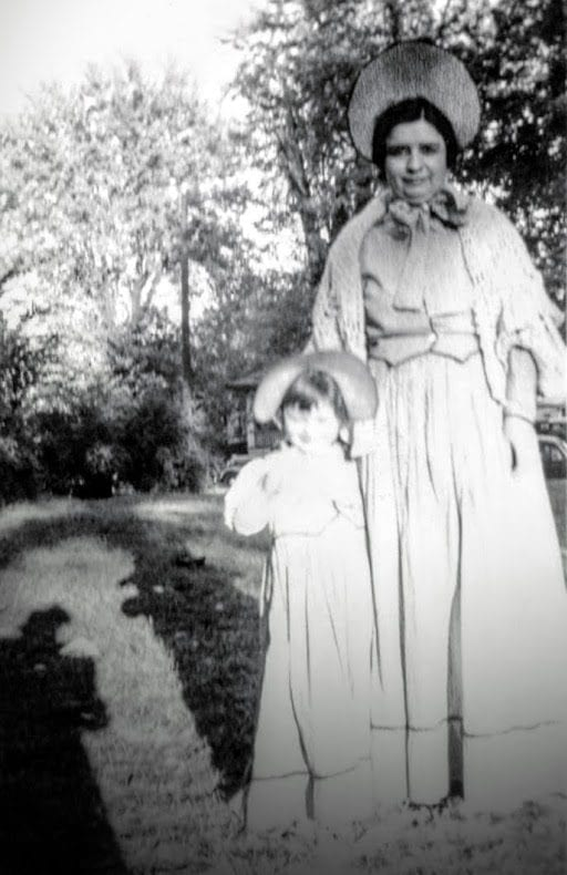 Photo: Barbara, at left, as a little girl, with her mom, at right, dressed up for Santi-Cali-Gon