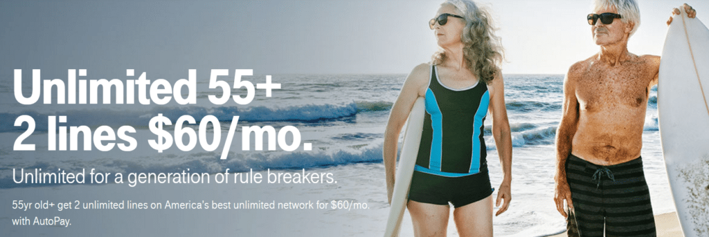 Graphic: Tmobile banner, Unlimited 55+ 2 lines $60/month