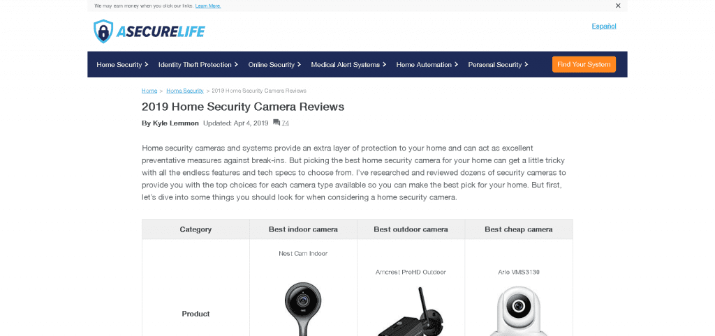 Review of Indoor/Security Cameras at ASecureLife.com