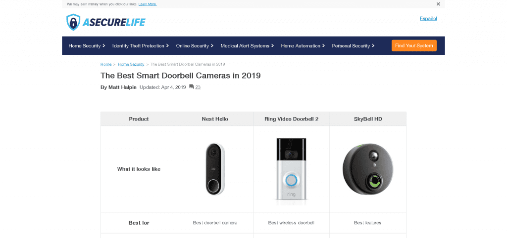 Review of Doorbell Cameras at ASecureLife.com