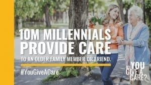 Graphic: 10 million+ Millennial-aged Americans providing care and support for a loved one. #YouGiveaCare